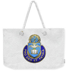 Weekender Tote Bag featuring the digital art U.s. Army Chaplain Corps - Regimental Insignia Over White Leather by Serge Averbukh