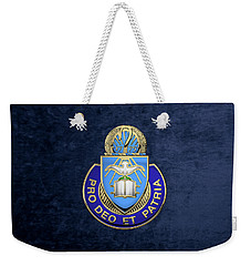 Weekender Tote Bag featuring the digital art U. S. Army Chaplain Corps - Regimental Insignia Over Blue Velvet by Serge Averbukh