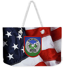 Weekender Tote Bag featuring the digital art U. S.  Air Force Tactical Air Control Party -  T A C P  Beret Flash With Crest Over American Flag by Serge Averbukh