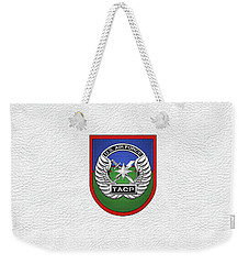 Weekender Tote Bag featuring the digital art U. S.  Air Force Tactical Air Control Party -  T A C P  Beret Flash With Crest Over White Leather by Serge Averbukh