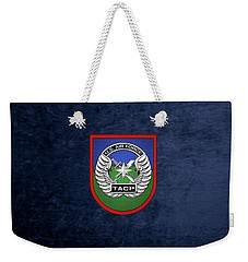 Weekender Tote Bag featuring the digital art U. S.  Air Force Tactical Air Control Party -  T A C P  Beret Flash With Crest Over Blue Velvet by Serge Averbukh