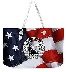 Weekender Tote Bag featuring the digital art U. S.  Air Force Tactical Air Control Party -  T A C P  Badge Over American Flag by Serge Averbukh