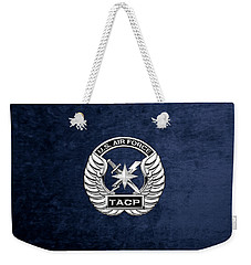 Weekender Tote Bag featuring the digital art U. S.  Air Force Tactical Air Control Party -  T A C P  Badge Over Blue Velvet by Serge Averbukh