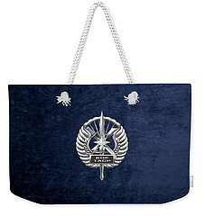 Weekender Tote Bag featuring the digital art U.s. Air Force Tactical Air Control Party - Special Tactics Tacp Crest Over Blue Velvet by Serge Averbukh