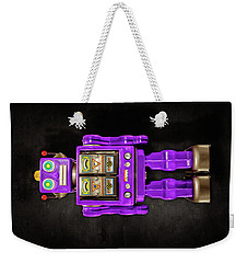 Weekender Tote Bag featuring the photograph Star Strider Robot Purple On Black by YoPedro