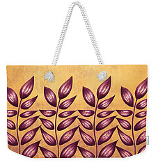 Abstract Plant With Pointy Leaves In Purple And Yellow Weekender Tote Bag