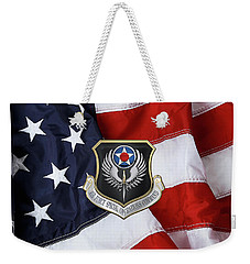 Air Force Special Operations Command -  A F S O C  Shield Over American Flag Weekender Tote Bag by Serge Averbukh
