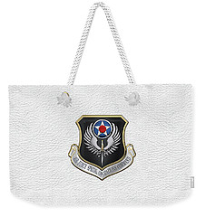 Air Force Special Operations Command -  A F S O C  Shield Over White Leather Weekender Tote Bag by Serge Averbukh
