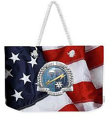 U. S.  Air Force Combat Control Teams - Combat Controller C C T Badge Over American Flag Weekender Tote Bag by Serge Averbukh