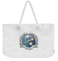 U. S.  Air Force Combat Control Teams - Combat Controller C C T Badge Over White Leather Weekender Tote Bag by Serge Averbukh