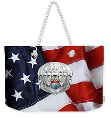 U. S.  Air Force Pararescuemen - P J Badge Over American Flag Weekender Tote Bag by Serge Averbukh