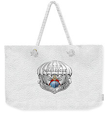 U. S.  Air Force Pararescuemen - P J Badge Over White Leather Weekender Tote Bag by Serge Averbukh