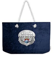 U. S.  Air Force Pararescuemen - P J Badge Over Blue Velvet Weekender Tote Bag by Serge Averbukh