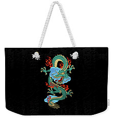 The Great Dragon Spirits - Turquoise Dragon On Black Silk Weekender Tote Bag by Serge Averbukh