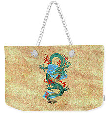The Great Dragon Spirits - Turquoise Dragon On Rice Paper Weekender Tote Bag by Serge Averbukh