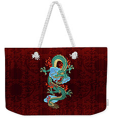 The Great Dragon Spirits - Turquoise Dragon On Red Silk Weekender Tote Bag by Serge Averbukh