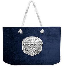 U. S.  Air Force Combat Rescue Officer - C R O Badge Over Blue Velvet Weekender Tote Bag by Serge Averbukh
