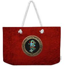 Treasure Trove - Turquoise Dragon Over Red Velvet Weekender Tote Bag by Serge Averbukh