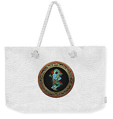 Treasure Trove - Turquoise Dragon Over White Leather Weekender Tote Bag by Serge Averbukh