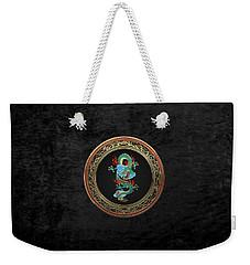 Treasure Trove - Turquoise Dragon Over Black Velvet Weekender Tote Bag by Serge Averbukh