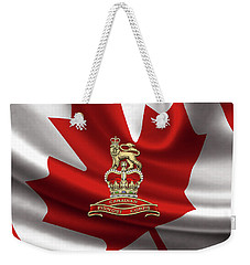 Canadian Provost Corps - C Pro C Badge Over Canadian Flag Weekender Tote Bag by Serge Averbukh