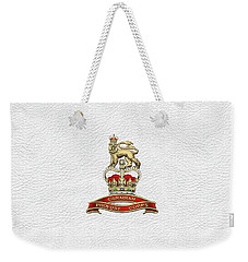 Canadian Provost Corps - C Pro C Badge Over White Leather Weekender Tote Bag by Serge Averbukh