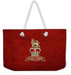 Canadian Provost Corps - C Pro C Badge Over Red Velvet Weekender Tote Bag by Serge Averbukh