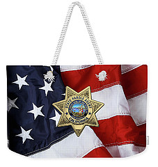 California State Parole Agent Badge Over American Flag Weekender Tote Bag by Serge Averbukh