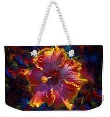Rainbow Hibiscus Tropical Flower Wall Art Botanical Oil Painting Radiance  Weekender Tote Bag