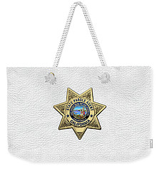 California State Parole Agent Badge Over White Leather Weekender Tote Bag by Serge Averbukh