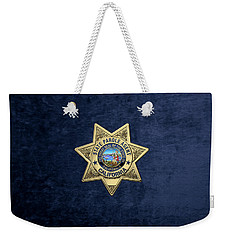 California State Parole Agent Badge Over Blue Velvet Weekender Tote Bag by Serge Averbukh