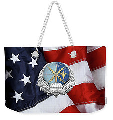 Special Operations Weather Team -  S O W T  Badge Over American Flag Weekender Tote Bag by Serge Averbukh