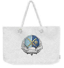 Special Operations Weather Team -  S O W T  Badge Over White Leather Weekender Tote Bag by Serge Averbukh
