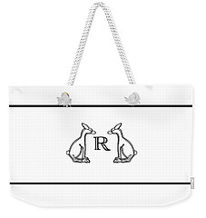 Black White Rabbits Line Weekender Tote Bag