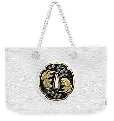Japanese Katana Tsuba - Twin Gold Fish On Black Steel Over White Leather Weekender Tote Bag