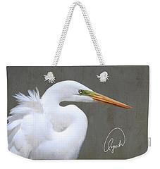 Portrait Of An Egret Signed Weekender Tote Bag