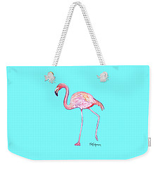 Flamingo On Blue Weekender Tote Bag