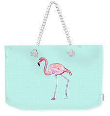 Flamingo On Mint Background Weekender Tote Bag