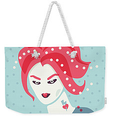 Portrait Of A Weird Girl With Pink Hair Weekender Tote Bag