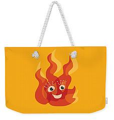 Happy Orange Burning Fire Character Weekender Tote Bag