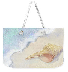 Weekender Tote Bag featuring the painting Dance Of The Sea - Australian Trumpet Shell Impressionstic by Audrey Jeanne Roberts