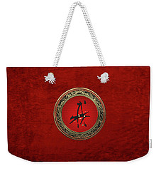 Chinese Zodiac - Year Of The Dog On Red Velvet Weekender Tote Bag