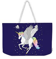 Pretty Rainbow Unicorn Flying Horse Weekender Tote Bag