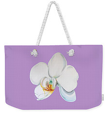 Weekender Tote Bag featuring the digital art Orchid On Lilac by Elizabeth Lock