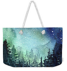 Galaxy Watercolor Aurora Painting Weekender Tote Bag
