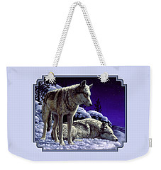 Wolf Painting - Night Watch Weekender Tote Bag by Crista Forest