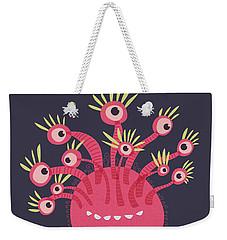 Funny Pink Monster With Eleven Eyes Weekender Tote Bag