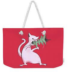 Funny White Cat Eats Christmas Tree Weekender Tote Bag