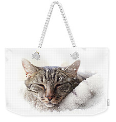 Cat And Snow Weekender Tote Bag