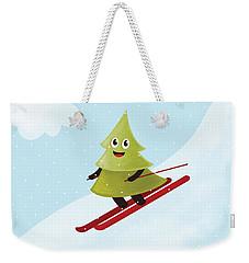Happy Pine Tree On Ski Weekender Tote Bag